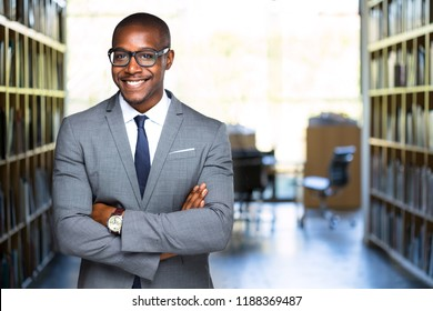 Friendly warm portrait of african american legal representative at practice with copy space