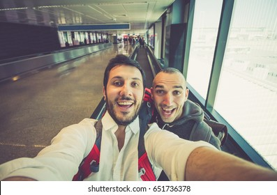 friends In Airport Lounge Near Windows Happy Smile  Friends Taking Selfie Photo before Flight around the world