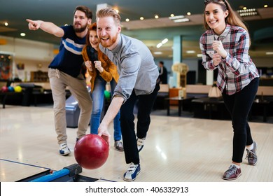 Friends bowling and enjoying moments together