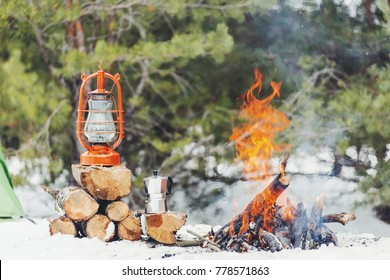 Friends Camping Eating Food Concept