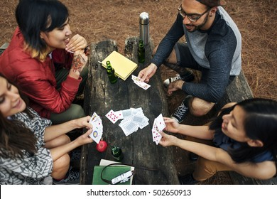 Friends Camping Playing Cards Concept