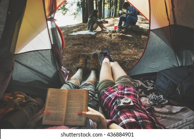 Friends Camping Relax Vacation Weekend Concept