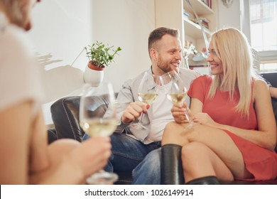 Friends cheering with wine at house party.