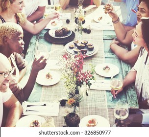 Friends Dining Holiday Hanging out Togetherness Concept