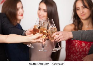 friends drink champagne