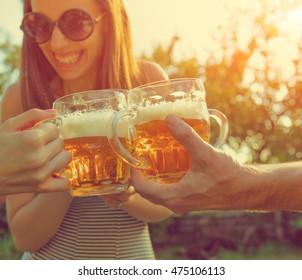 Friends drinking beer.