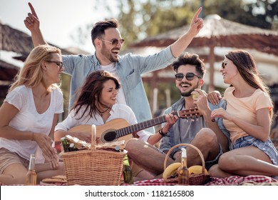 Friends drinking beers and listening to music.Having fun at beach party.Summer, holidays,vacation,music,happy people concept.
