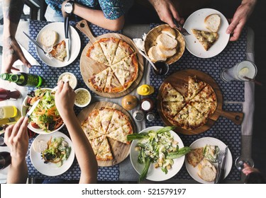 Friends Eating Pizza Party Together