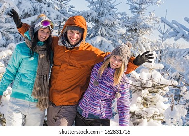 Friends enjoy winter holiday break snow mountains sunny sport