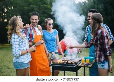 Friends enjoying bbq party