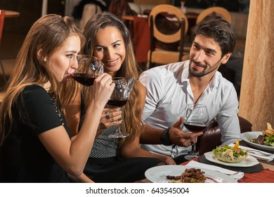 Friends enjoying dinner, wine and talks in a restaurant