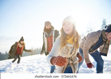 Friends enjoying themselves during winter time