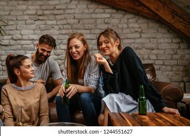 Friends enjoying weekend at home