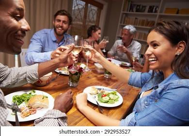Friends at an evening dinner party