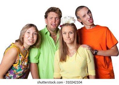Friends express emotions: confusion, bewilderment, surprise, puzzlement .Group portrait of the actor on a white background.
