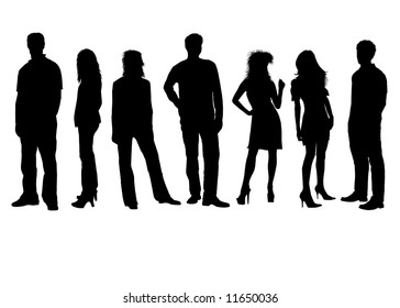 Friends - girls and boys - silhouettes
