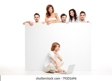 friends group showing blank banner woman laptop