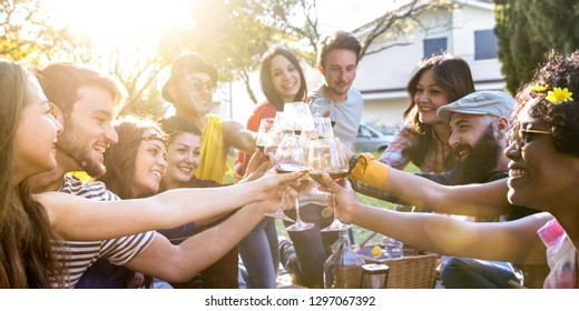 Friends group toasting red wine and having fun outdoor cheering at bbq picnic - Young people enjoying summer together at garden party outside - Youth friendship concept with focus on clinking glasses