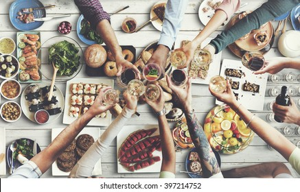 Friends Happiness Enjoying Dinning Eating Concept