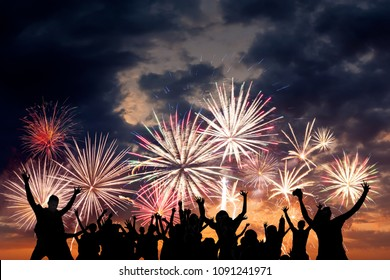 Friends are happy of holiday fireworks, for Christmas and New Year design, background and banner