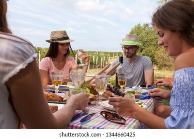 friends have al fresco brunch in the fields outdoors next to a vineyard in summer afternoon. they enjoy rustic food and fresh wine. friendship picnic in the garden environment countryside