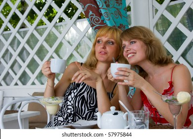 Friends having coffee in cafe.  Two women friends talking amongst themselves. Female friends talking and drinking in coffee shop.