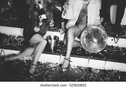 Friends having fun in the disco