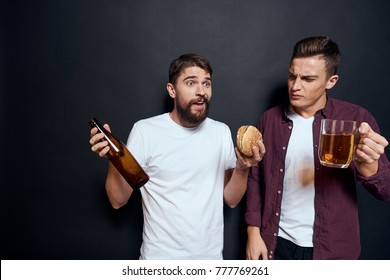 friends having fun on a black background, beer, alcohol, hangover, holiday, fast food, alcoholism, harmful to health, abuse