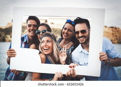 Friends having fun outdoors and are happy
