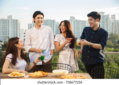 Friends having party on the rooftop