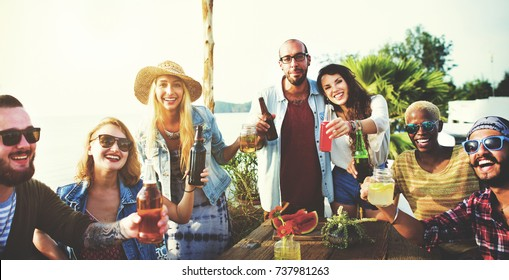 Friends having a summer party