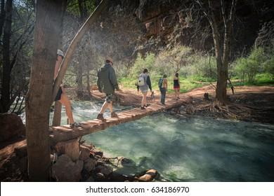 Friends hiking to an amazing destination, Grand Canyon, Arizona