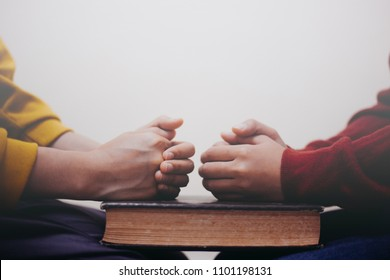 Friends joy hands and pray together,christian mentor concept