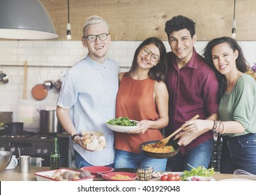Friends Kitchen Cooking Dining Togetherness Concept