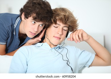 Friends listening to music at home