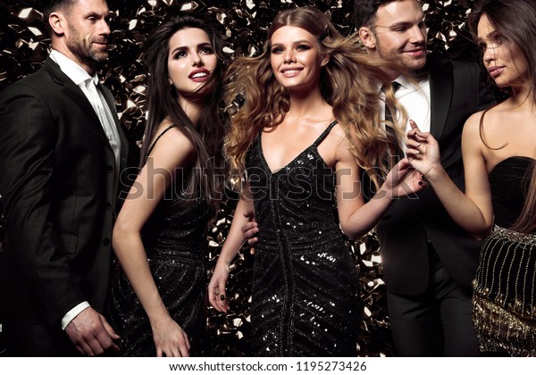 Friends on celebrating, party. Hollywood stars.