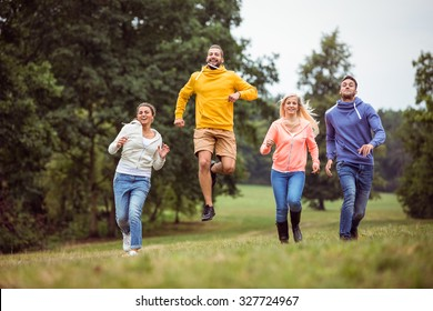 Friends on a hike together in the countryside