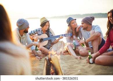 Friends on sand
