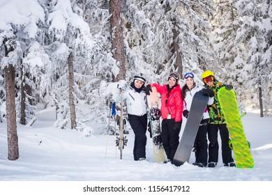 Friends on the ski slopes.