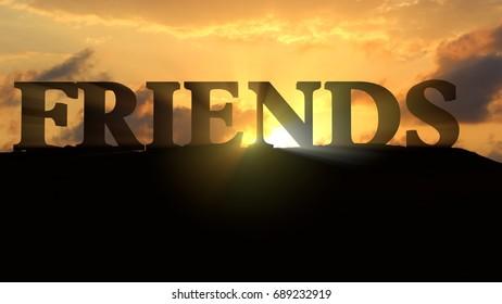 Friends on sunset landscape - 3d rendering