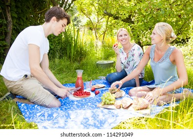 Friends outdoors having a picnic in the field