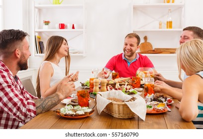 Friends party. Small talk friendly conversation, young happy people company have fun together, festive dinner