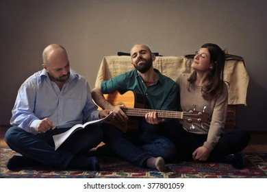 Friends playing and singing
