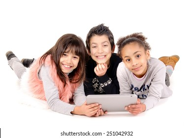 friends playing with tablet isolated in white background