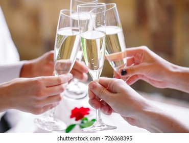 Friends in restaurant having a toast