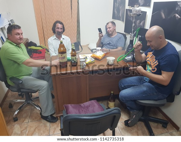 Friends Resting Arabic Cafe Lutsk Ukraine Stock Photo (Edit