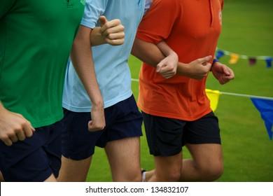 Friends in Running Race