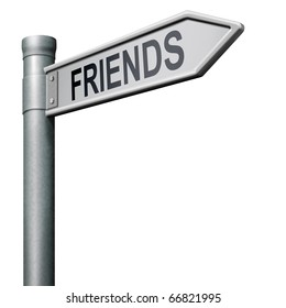 friends search find online friend road sign arrow indicating way in social network friends button friends icon internet friend