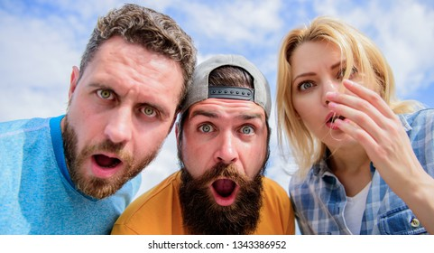 Friends shocked faces looking at you. That is impossible. Shocking news. Amazed surprised face expression. How to impress people. Shocking impression. Men with beard and woman looking shocked. No way.