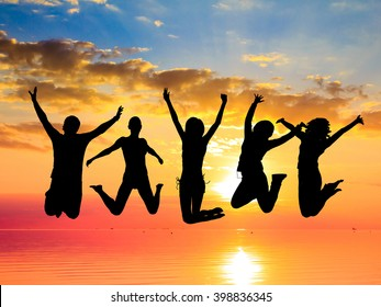 Friends Silhouettes Excited